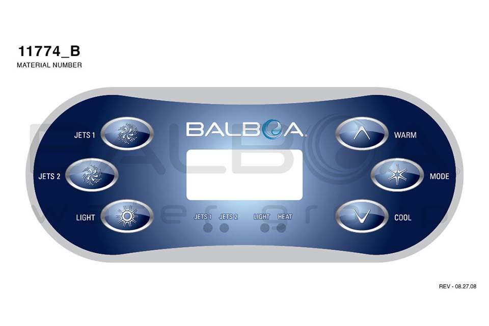 spa topside panel balboa vl600s serial standaard panel jet jet light warm cool mode 54548 01. Black Bedroom Furniture Sets. Home Design Ideas
